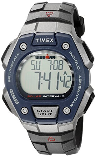 Timex Men's TW5K86000 Ironman Classic 50 Full-Size Black/Gray/Blue Resin Strap Watch -