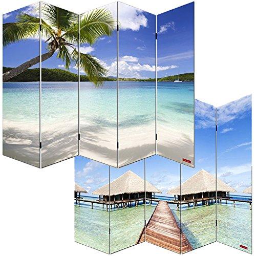 Mendler Foto-Paravent Paravent Raumteiler Trennwand M68~180x200cm, Strand