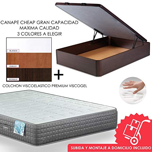 MICAMAMELLAMA Canapé de Madera Cheap + Colchón viscoelástico Reversible Premium - Montaje Incluido (Blanco, 135x190)