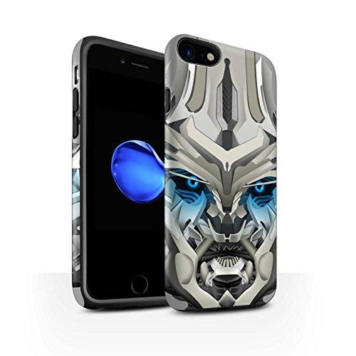 STUFF4 Matte Harten Stoßfest Hülle / Case für Apple iPhone 8 / Bumble-Bot Red Muster / Roboter Kollektion Mega-Bot Blau
