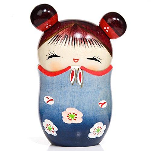 Memory Blue Trinket Box Kokeshi Doll by The Japanese Shop