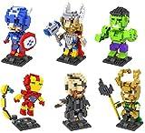 The Avengers Marvel Comics Super Heroes Building Blocks - 6 characters Micro Nano diamond bricks Minifigure Set - Toys Kids DIY gift Assembler ( Iron Man, Hulk , Captain America , Thor, Loki, Nick Fury )