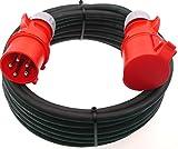CEE Adapterkabel 400V / 32A Dose auf 16A Stecker mit Phasenwender l 5-polig (3P+N+PE) H07RN-F 5x2,5 mm²AC Gummikabel IP44 Außenbereich 10m