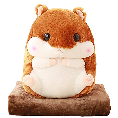 Alpacasso 3 IN 1 Cute Braun Plüsch Hamster Dekokissen und Folding Klimaanlage Car Blanket Kissen Set.