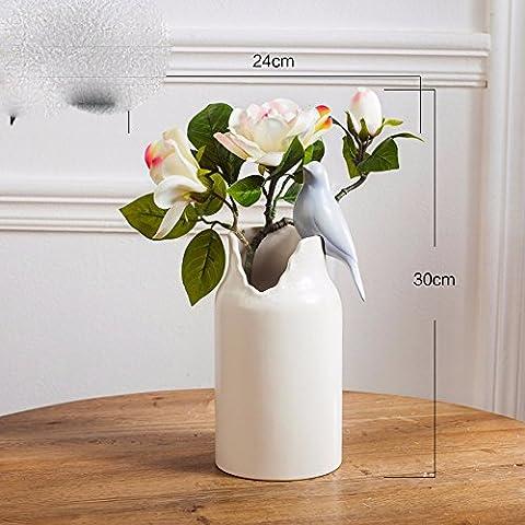 LKMNJ Meubles de fleurs artificielles Fleurs Vase en céramique d'émulation minimaliste moderne ,Blanc Gardenia
