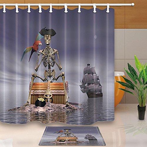 gohebe Skelett Pirat, sitzen auf einer Schatztruhe mit Ihre Parrot by Night mit Schiff Hinter auf der Ocean 180,3x 180,3cm Vorhang für die Dusche Anzug mit 39,9x 59,9cm Flanell rutschfeste Boden Fußmatte Bad Teppiche