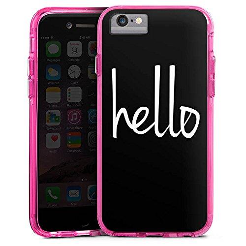 Apple iPhone 6s Bumper Hülle Bumper Case Glitzer Hülle Hello Hallo Statement Bumper Case transparent pink