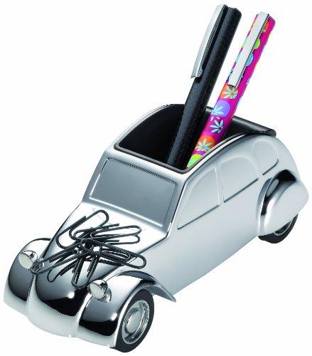 """ENTE Fermacarte e portapenne a forma di macchina classica """"2CV"""", con magnete per clip, motore ad attrito, in metallo cromato lucido"""