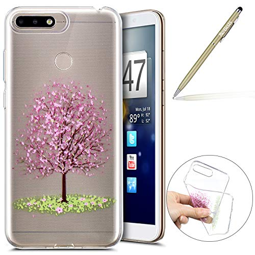 Kompatibel mit Handy Tasche Huawei Y6 2018 Silikon Hülle Durchsichtige Schutzhülle Crystal Clear Transparent Ultra Dünn Handyhülle Silikonhülle Kristall Klar TPU Bumper,Rosa Kirsche Blumen