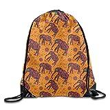 ewtretr Bolsos De Gimnasio, Drawstring Backpack Bags for Men Women Kids Casual Gym Bag - (Africa Patterned Elephant - Orange)