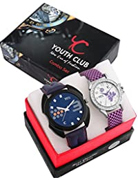 Youth Club Couple Casual Studded Analogue Multi-Colour Dial Watch For Boys & Girls (Combo Of 2) _Bu83Pplc