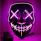 Yilyln LED Maske Purge Maske mit 3 Blitzmodi für Cosplay Party Halloween Fasching Karneval Kostüm Dekoration (Rosa)
