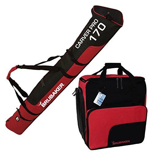 BRUBAKER Sac à chaussures de ski 'Super Function' et Housse à skis 'Carver Pro' pour 1 Paire de skis + Bâtons + Chaussures + Casque - 170 cm - Noir / Rouge