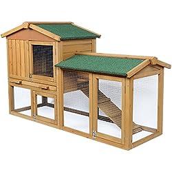EUGAD 0034HT Clapier Lapin Cage pour Petit Animal Lapin en Bois Massif avec escalier