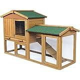 WOLTU® Kaninchenstall Hasenstall Kleintierstall aus massivem Kiefernholz wetterfest 3 Stocke Hasenkäfig Stall HT2006