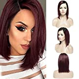 Human Hair Wig for Woman Short Bob Ombre Lace Front Wig Echthaar Perücke Brasilianische Haare Glatt...