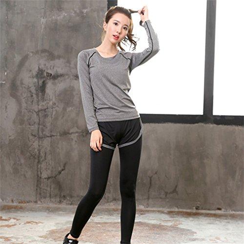 REALLION Femmes 2 Pièces Ensembles de Yoga (T-shirt à manches longues + Pantalon ) Sportswear à respirant, Hygroscopique et à Séchage Rapide Gris