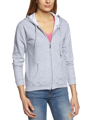 Gildan Damen Ladies 50/50 Cotton/Poly. Full Zip Hooded Sweat Sweatshirt, Grau (Sport Grey), 40 (Herstellergröße: M) - Grey Hooded Full Zip Sweatshirt