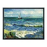 Wieco Art - Seascape at Saintes Maries di Vincent Van Gogh, Riproduzione di Dipinti a Olio Moderna Avvolto Giclée Stampe su Tela da Parete per Soggiorno, casa e Ufficio, Nero, 16x12inch (Framed)