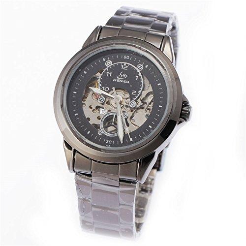 2017New schwarz Herren Skelett Armbanduhr Edelstahl Antik Steampunk Casual automatische Skelett mechanische Uhren Stecker (Steampunk Kit Für Männer)