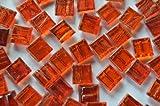 250 St. Mosaiksteine mit Flimmer (Goldfäden, unecht) rot 1x1 cm ca. 170g.