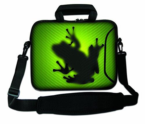 LUXBURG® 17,3 Zoll Schultertasche Notebooktasche Laptoptasche Tasche mit Tragegurt aus Neopren für Laptop / Notebook Computer - Frosch