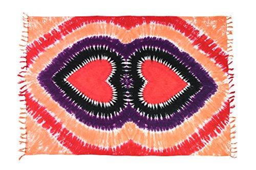 Sarong Pareo Dhoti Lunghi circa 170cm x 110cm dipinta a mano Tie Dye Batik inclusa cocco fibbia Pareo telo mare panno Tye die molti modelli Herz Rot Rosa Pink