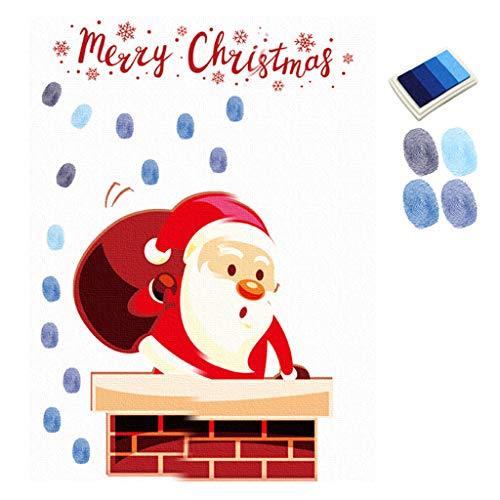 GROOMY Weihnachtsdekoration, DIY Santa Chimney Fingerabdruck Leinwand Malerei Hochzeit Unterschrift Dekoration, 2With Klebstoff Kleber