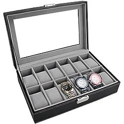 PIXNOR Uhrenbox - Eleganter Speicher für bis zu 12 Armbanduhren