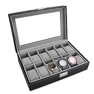 PIXNOR Uhrenbox für 6 oder 12 Uhren Eleganter Speicher auch für Schmuck oder Armbandkollektion usw