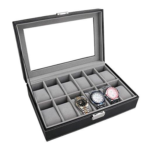 PIXNOR Uhrenbox für 12 Uhren Eleganter Speicher für Uhren