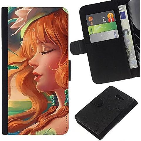 // PHONE CASE GIFT // Moda Estuche Funda de Cuero Billetera Tarjeta de crédito dinero bolsa Cubierta de proteccion Caso Sony Xperia M2 / Sexy Redhead