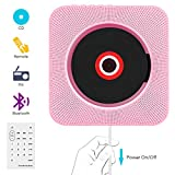CD Player,VIFLYKOO Bluetooth an der Wand montierbaren tragbaren SD-Musik-Player mit HiFi Lautsprecher FM Radio MP3 USB Eingang Fernbedienung 3,5mm Aux Buchse für Kinder Studenten und Ältester -Rosa