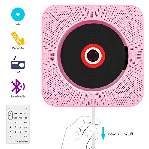 CD Player,VIFLYKOO Bluetooth wandmontierbar CD Radio Musik Player mit Fernbedienung, Eingebauter 2 HiFi-Lautsprecher, FM-Radio,MP3,3.5mm Kopfhörerbuchse für Kinder Student und Elder - Rosa