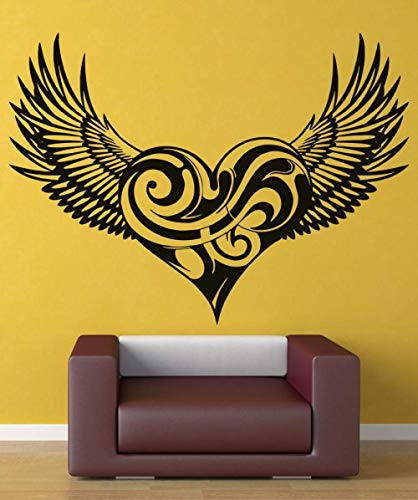 DLYD Vinyl Decal Swirly Heart Wings Christian Angel Wings Religion Christianity Living Room Bedroom Home Decor Wall Decal 2CB4 -