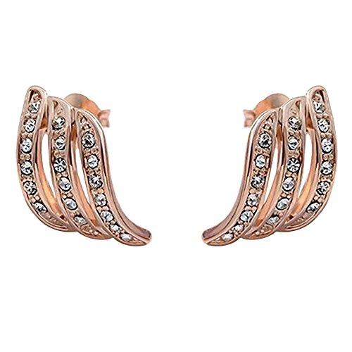 ODJOY-FAN Rose Gold Diamant Ohrstecker Persönlichkeit Ohrringe Dreireihiger Bohrer Ohrring Ohr Zubehör Zum Frau Hochzeit Schmuck 5 g Gewicht(Roségold,1 Pair)