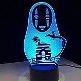 Controllo APP Lampada A Led 3D Spirited Away No Face Man Action Figures Decorazione Bambola Giocattoli Per Bambini Acrilico 7 Colori Luce Notturna