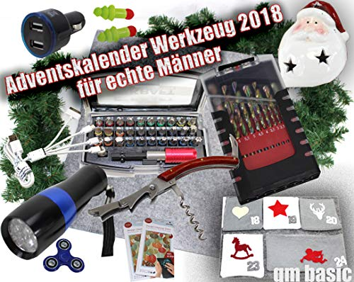 qm basic XXL ADVENTSKALENDER Werkzeug 2018 MÄNNER 58 Teile Schraubendreher Bit Set ü5ü500