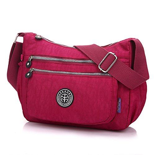 Outreo Kuriertasche Damen Umhängetasche Designer Schultertasche Mode Taschen Leichter Messenger Bag Reisetasche Lässige Wasserdicht Sporttasche Rot 2