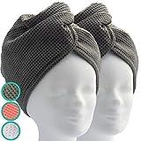 ELEXACARE Haarturban, Turban Handtuch mit Knopf (2 Stück anthrazit), Mikrofaser Handtuch für Kopf und Lange Haare -