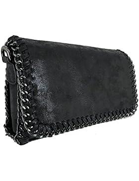 CRAZYCHIC - Damen Kette Tasche mit Glänzendes Metallisches Leder - Nubuk mit Glitzer Pailletten Tasche - Elegante...