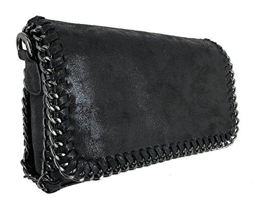 CRAZYCHIC - Damen Kette Pochette - Frauen Nubuk Glitzern Pailletten Kettentasche - Glänzendes Leder Umhängetasche - Elegante Kleine Abendtasche - Unterarmtasche Große Brieftasche Tasche - Schwraz (Zara City Bag)