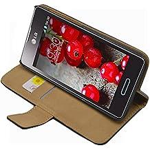 Negra Cartera Funda para LG E460 Optimus L5 II - Flip Case Cover + 2 Protector de Pantalla