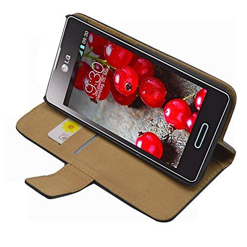 Schwarz Brieftasche Tasche Hülle LG E460 Optimus L5 II - Flip Case Cover + 2 Displayschutzfolien Lg Optimus Hülle