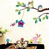 Malilove Cute Eulen Bäume Wand Aufkleber Dekoration Für Kinder Zimmer Abnehmbare Schälen Und Stick Wand Aufkleber Diy Vogelkäfig Poster Abnehmbar