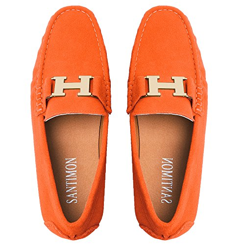Santimon Mocassins Homme Suède Cuir Plats Slip-on Loafers Loisirs Chaussures Or Buckle Orange