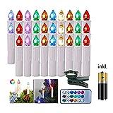 FROADP 30 Stück mit Batterie Bunt Dimmbare LED Mini Weihnachtskerzen mit Fernbedienung Kabellos Christbaumkerzen für Weihnachtsbaum deko Geburtstagsdeko