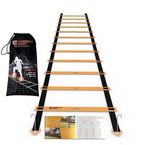 Agility Leiter–12verstellbare Sprossen 19Füße–Dynamik und Speed Training Kit–Geschwindigkeit, Trainingsgerät für schneller Beinarbeit und bessere Bewegung Fähigkeiten durch skandinavischen Sport