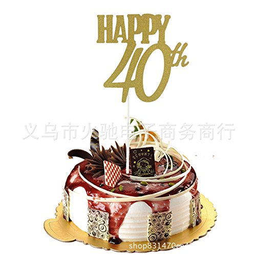 Topper Birthday Kuchen Einsatz Karten, Party Decor Dekorationen Happy Kuchen Topper 100/Paket 40th gold ()
