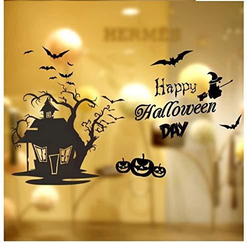ZJMIQT Schwarze Fledermaus Schädel Pumhpkin Tree House Wall Sticker Happy Halloween Tag Fliegende Hexe Home Fensterdekoration Festival Wand Aufkleber